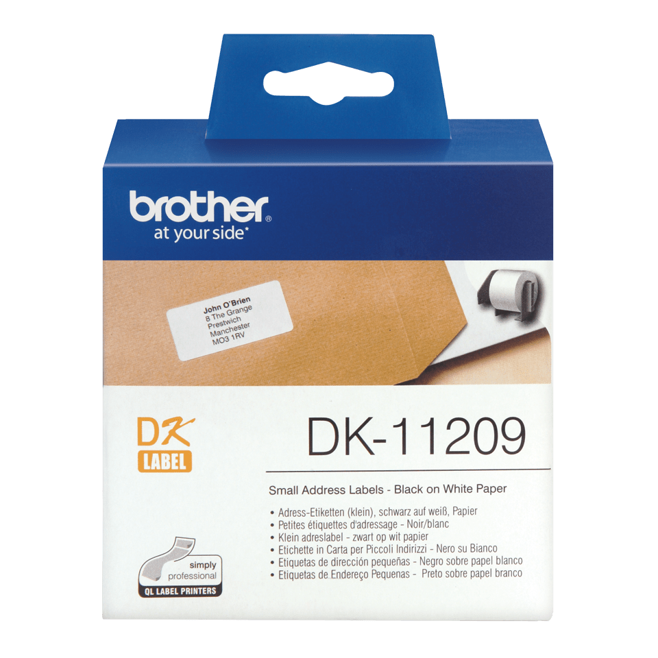 Brother original DK11209 små adresseetiketter- sort på hvit, 29 mm x 62 mm