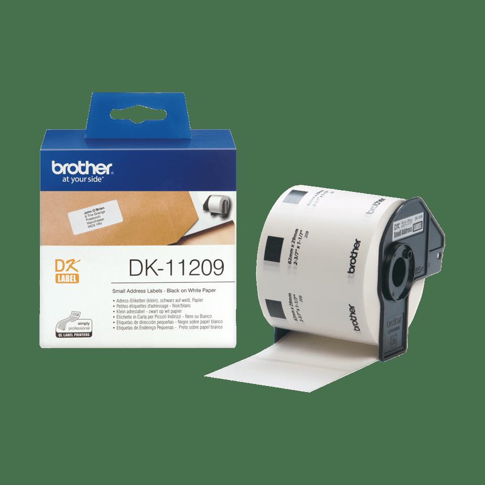Brother original DK11209 små adresseetiketter- sort på hvit, 29 mm x 62 mm 3