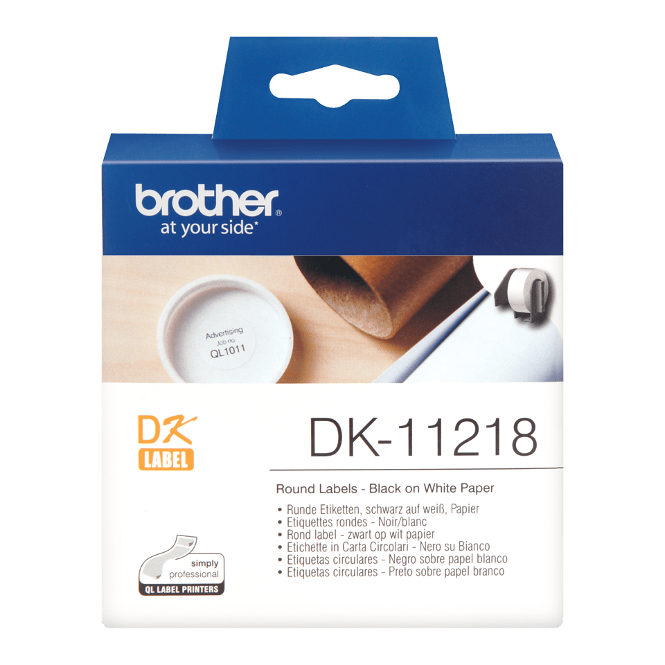 Original Brother DK11218 runde etiketter – sort på hvit, 24 mm diameter
