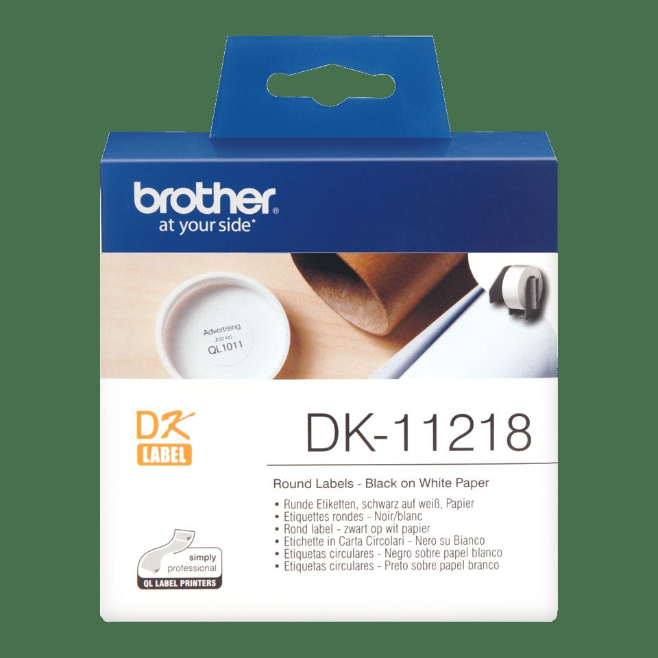 Original Brother DK11218 runde etiketter – sort på hvit, 24 mm diameter