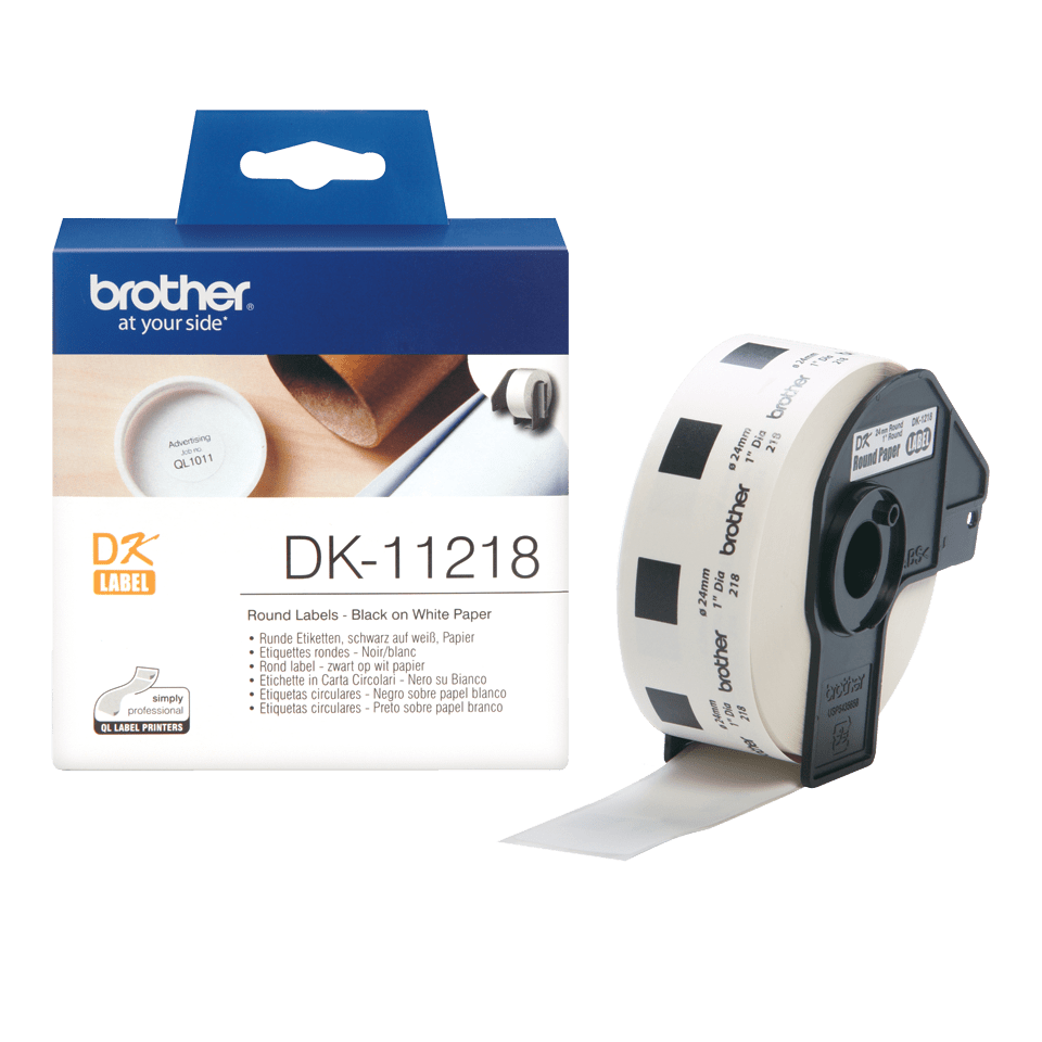 Original Brother DK11218 runde etiketter – sort på hvit, 24 mm diameter 3