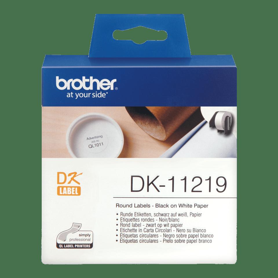 Original Brother DK11219 runde etiketter – sort på hvit, 12 mm diameter