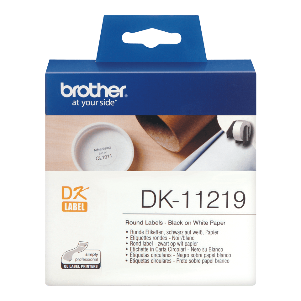 Original Brother DK11219 runde etiketter – sort på hvit, 12 mm diameter