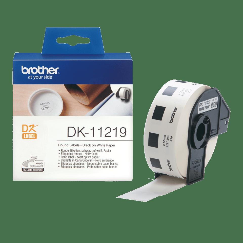 Original Brother DK11219 runde etiketter – sort på hvit, 12 mm diameter 3