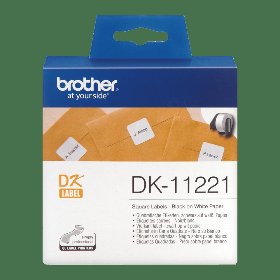 Original Brother DK11221 kvadratisk etikett – sort på hvit, 23 mm x 23 mm