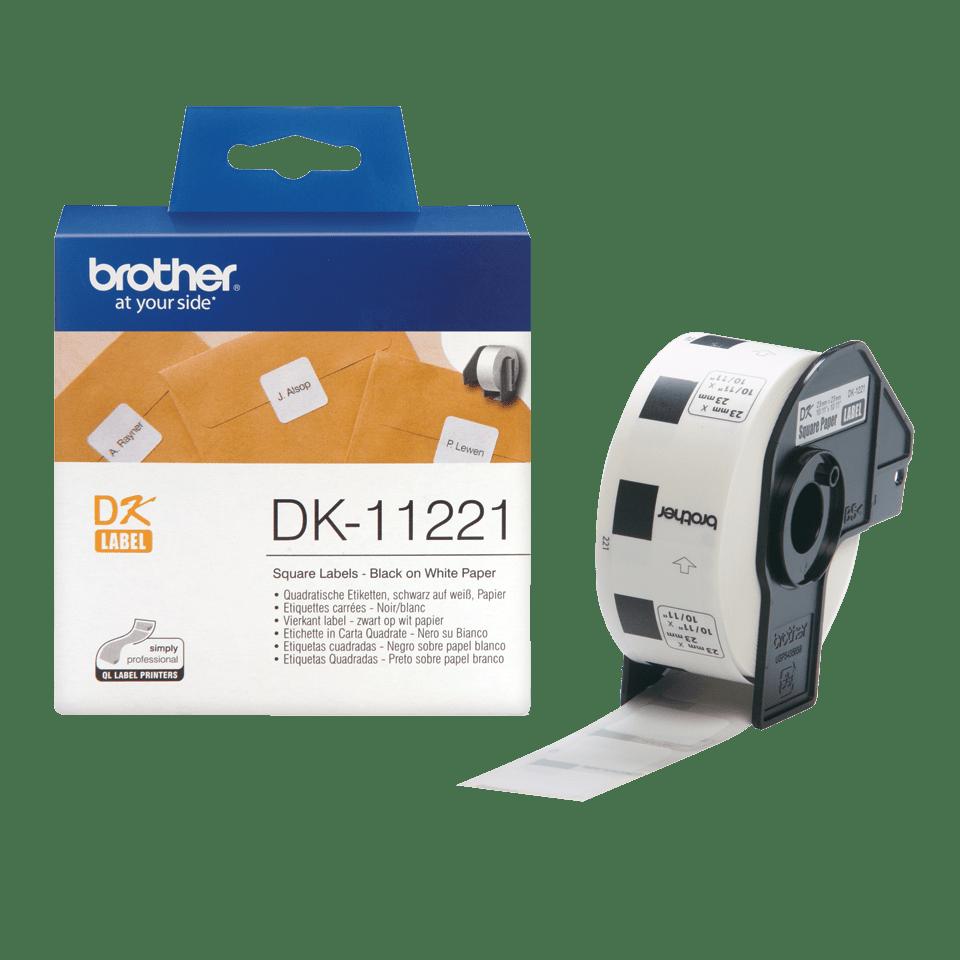 Original Brother DK11221 kvadratisk etikett – sort på hvit, 23 mm x 23 mm 3