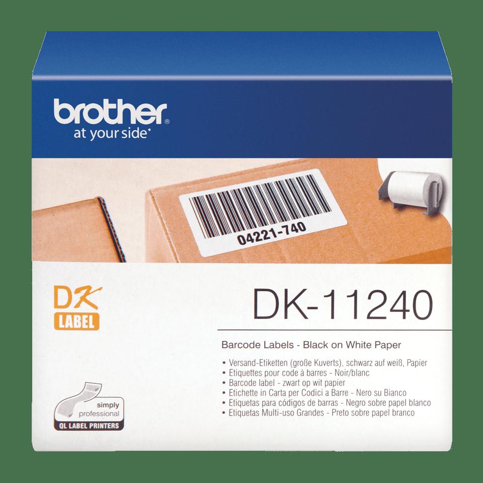 Original Brother DK11240 strekkodeetikett – sort på hvit, 102 mm x 51 mm