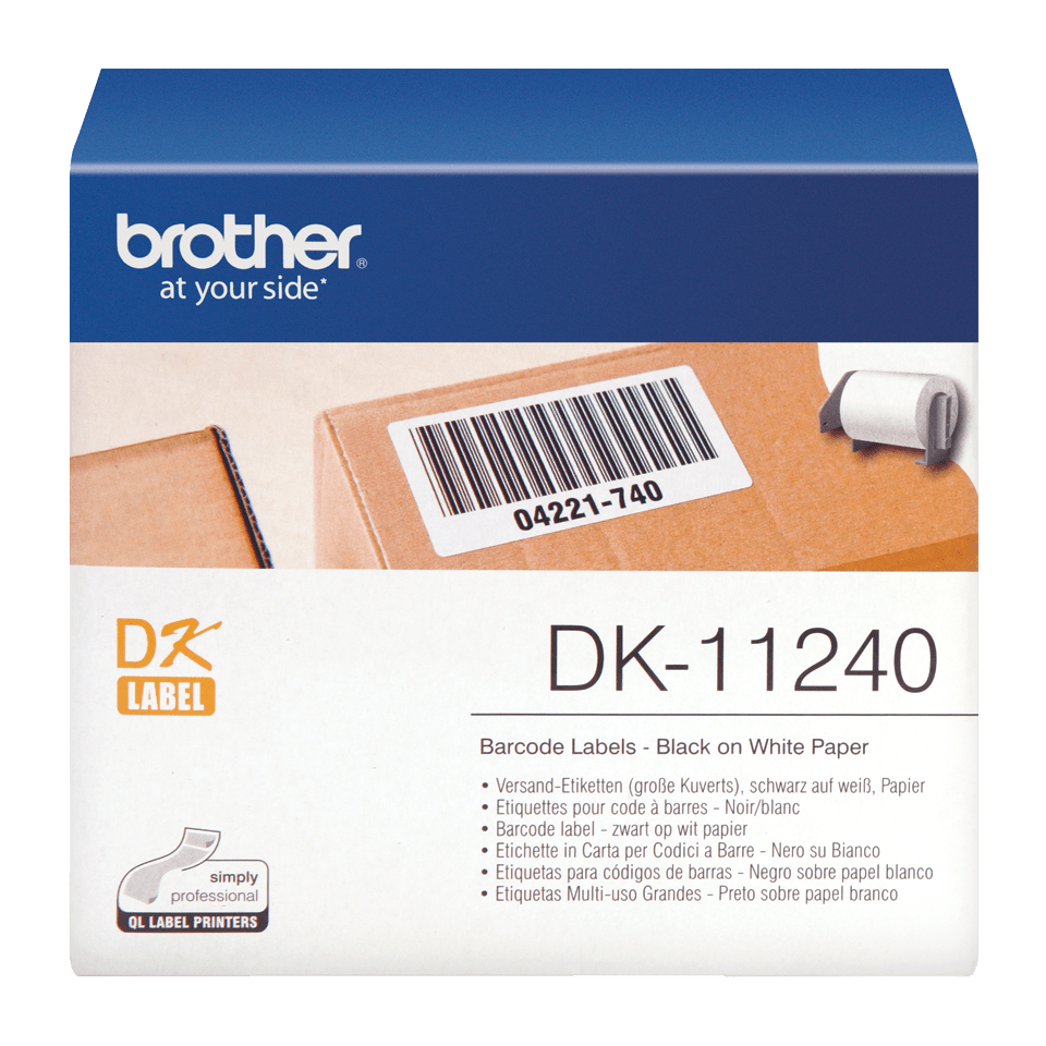 Original Brother DK11240 strekkodeetikett – sort på hvit, 102 mm x 51 mm