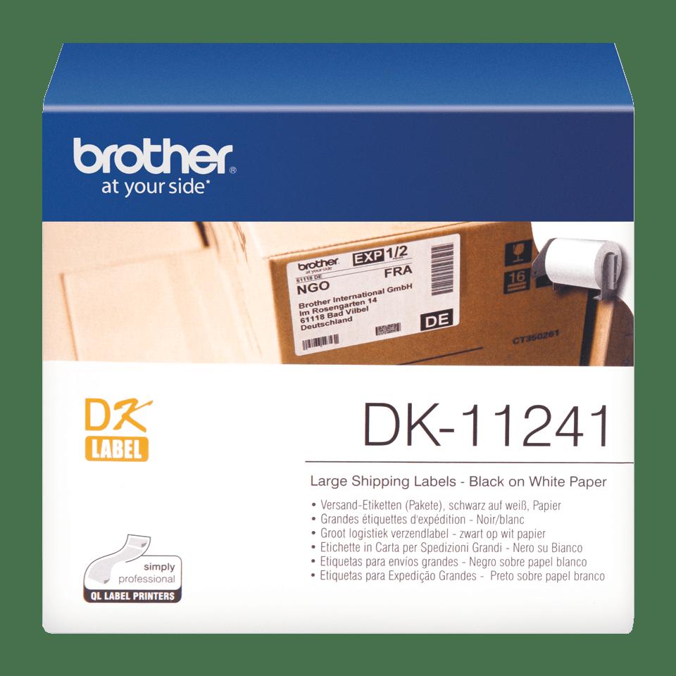 Original Brother DK11241 store forsendelsesetiketter – sort på hvit, 102 mm x 152 mm