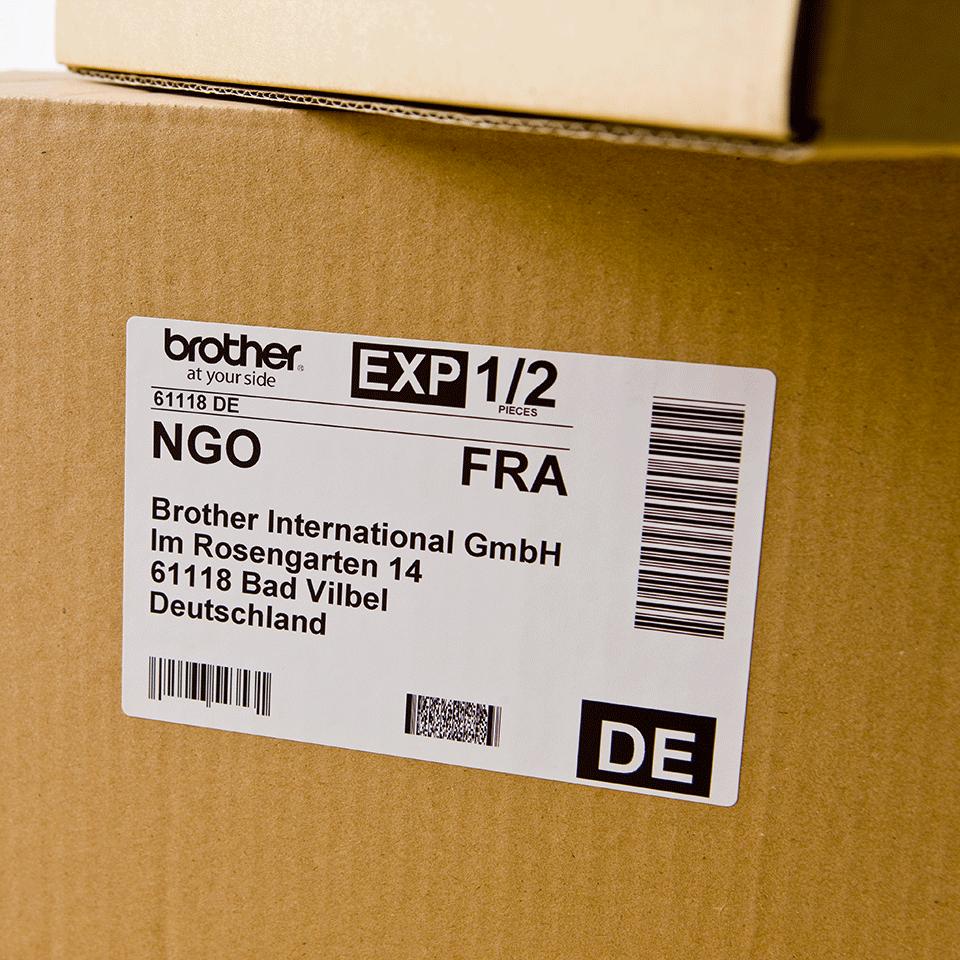 Original Brother DK11241 store forsendelsesetiketter – sort på hvit, 102 mm x 152 mm 2
