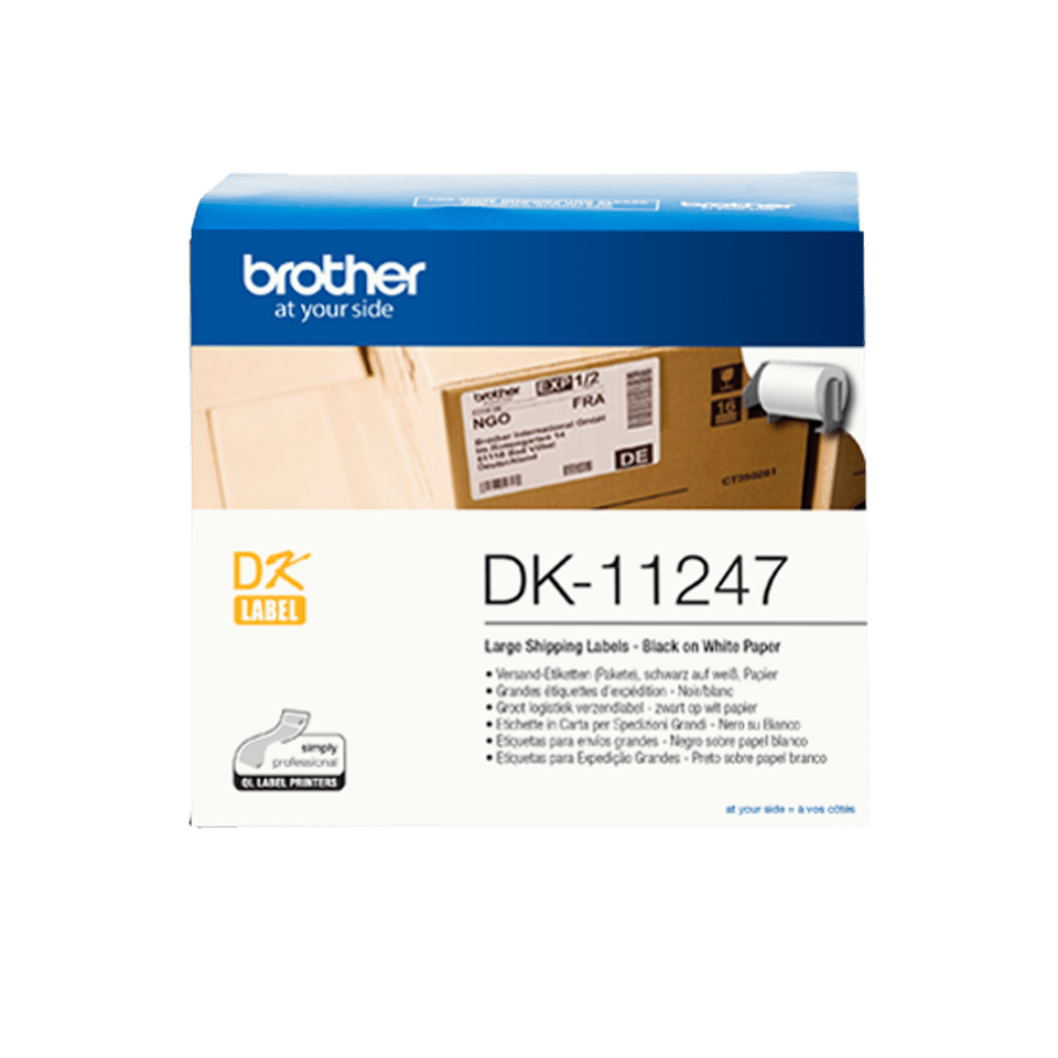 Brother original DK11247 store adresseetiketter i fast format, 103 mm x 164 mm - sort på hvit