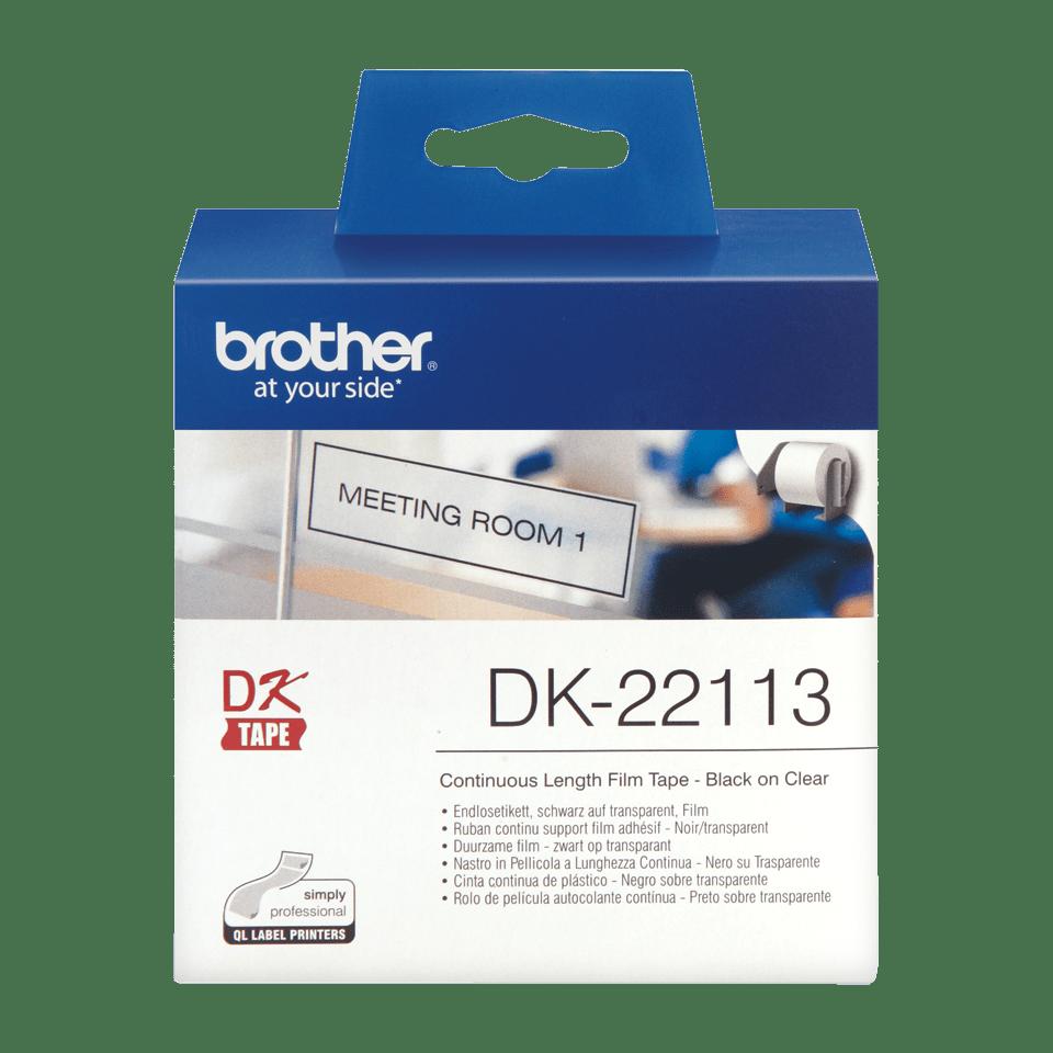 Original Brother DK22113 taperull i plastfilm i løpende lengde – sort på klar, 62 mm 2