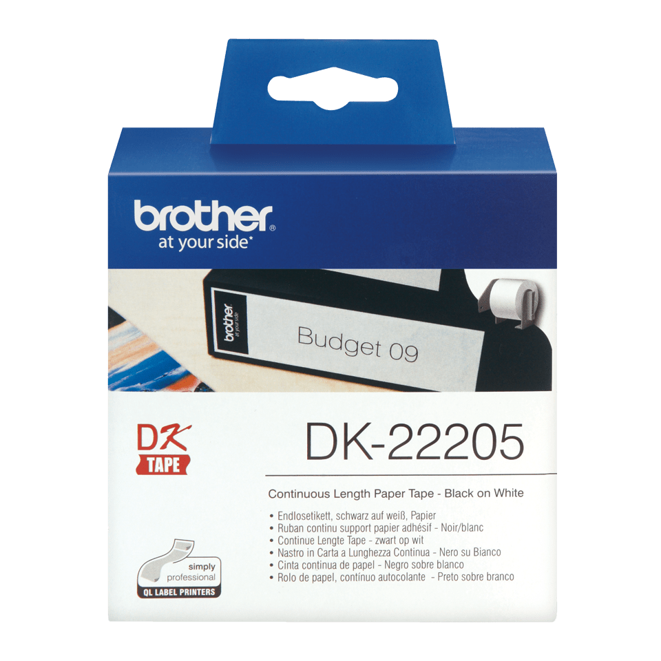 Brother original DK22205 taperull i papir i løpende lengde - sort på hvit, 62 mm bred