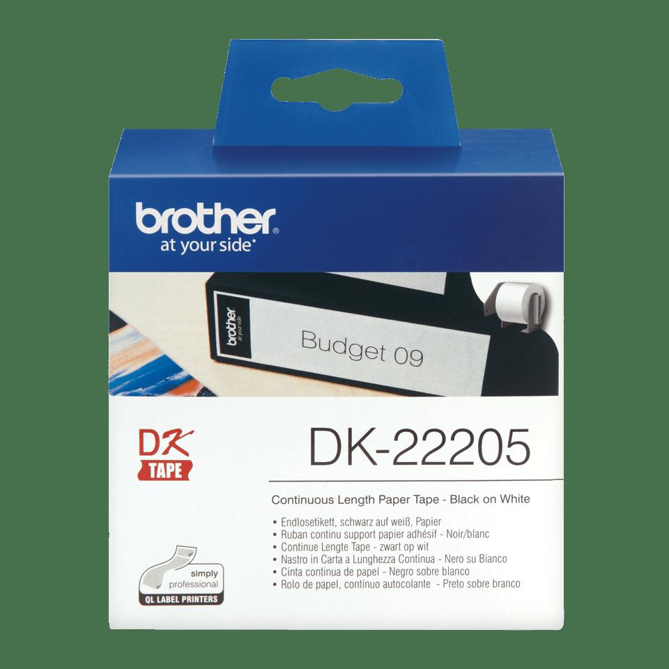 Brother original DK22205 taperull i papir i løpende lengde - sort på hvit, 62 mm bred