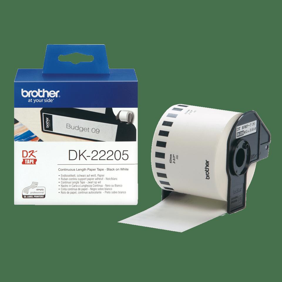 Brother original DK22205 taperull i papir i løpende lengde - sort på hvit, 62 mm bred 3
