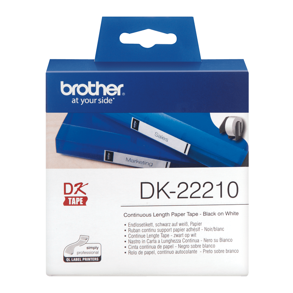 Original Brother DK22210 taperull i papir i løpende lengde – sort på hvit, 29 mm bred