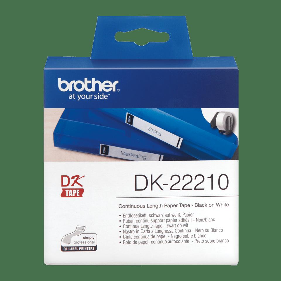 Original Brother DK22210 taperull i papir i løpende lengde – sort på hvit, 29 mm bred