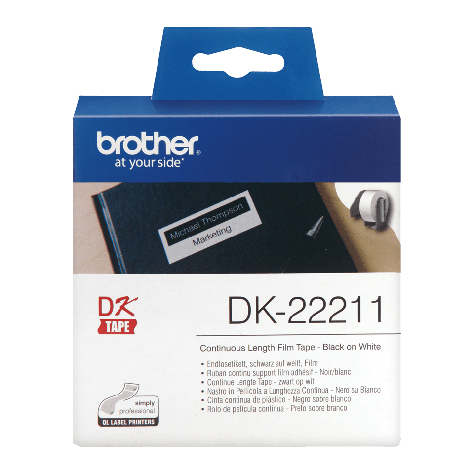 Original Brother DK22211 taperull i plastfilm i løpende lengde - sort på hvit, 29 mm x 15,24 m