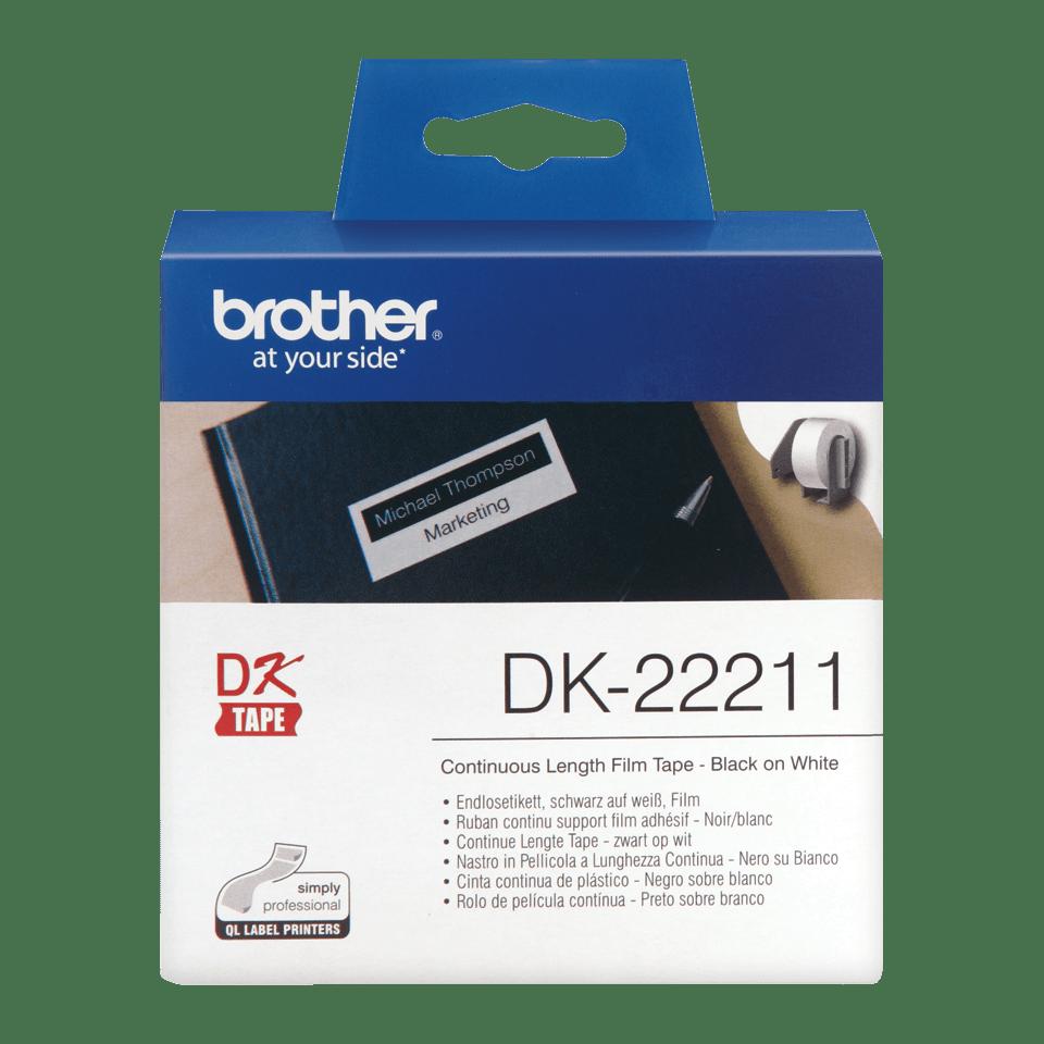 Original Brother DK22211 taperull i plastfilm i løpende lengde - sort på hvit, 29 mm x 15,24 m