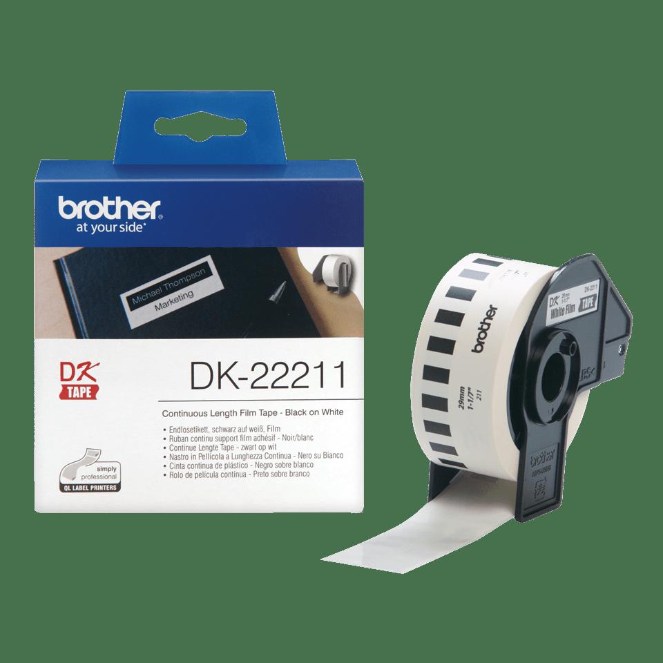 Original Brother DK22211 taperull i plastfilm i løpende lengde - sort på hvit, 29 mm x 15,24 m  3