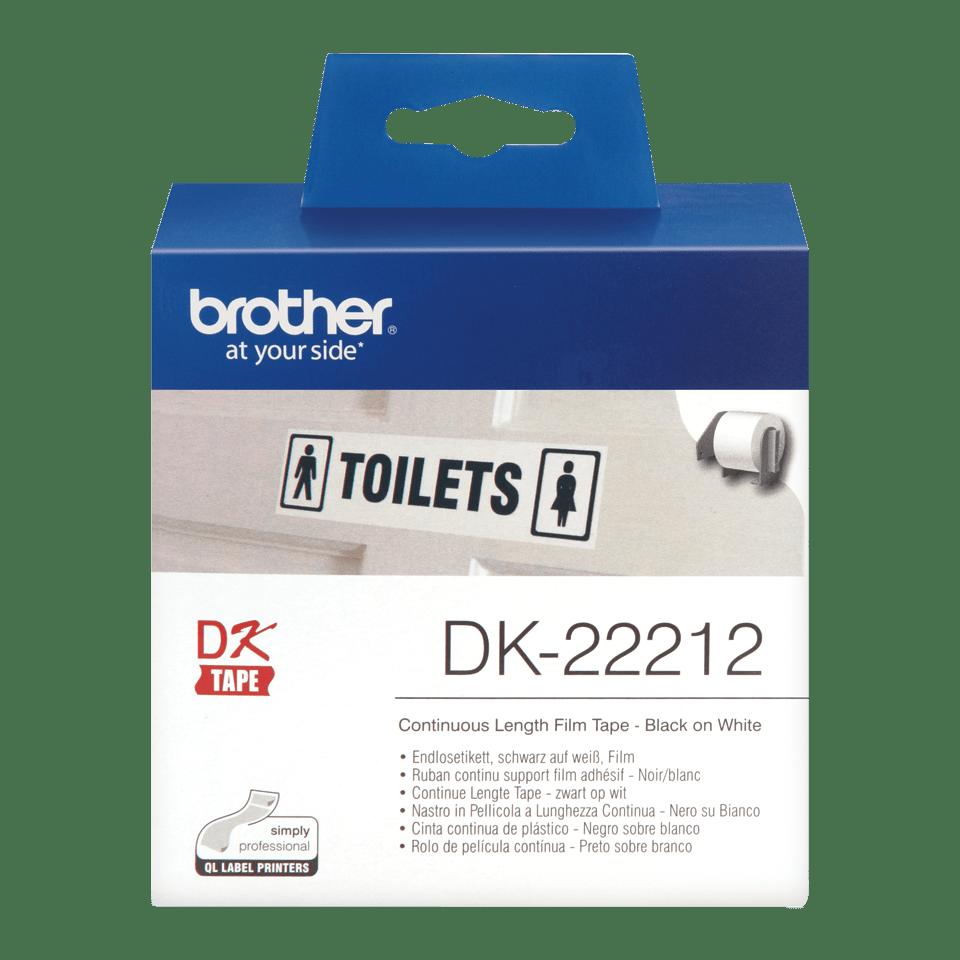 Brother original DK22212 taperull i plastfilm i løpende lengde - sort på hvit, 62 mm bred
