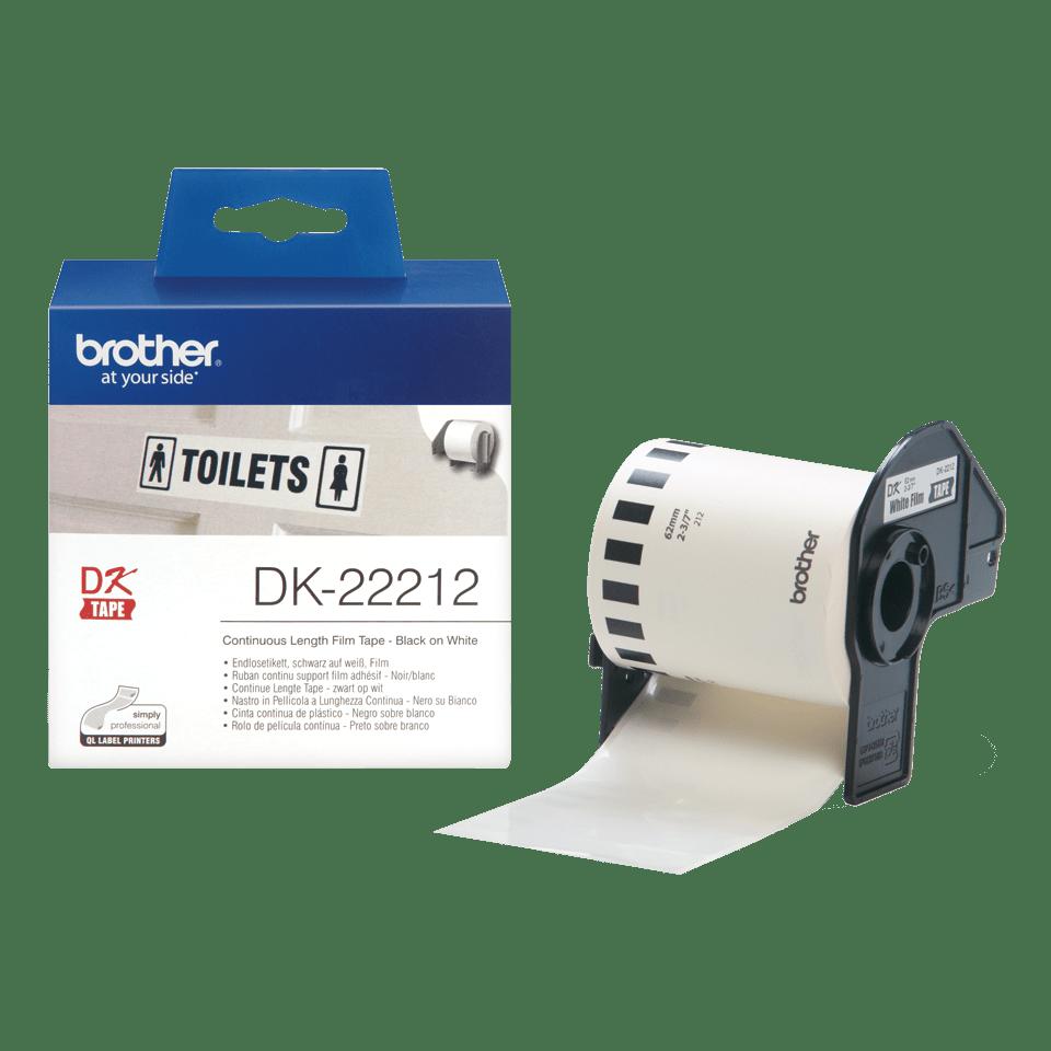 Brother original DK22212 taperull i plastfilm i løpende lengde - sort på hvit, 62 mm bred 3