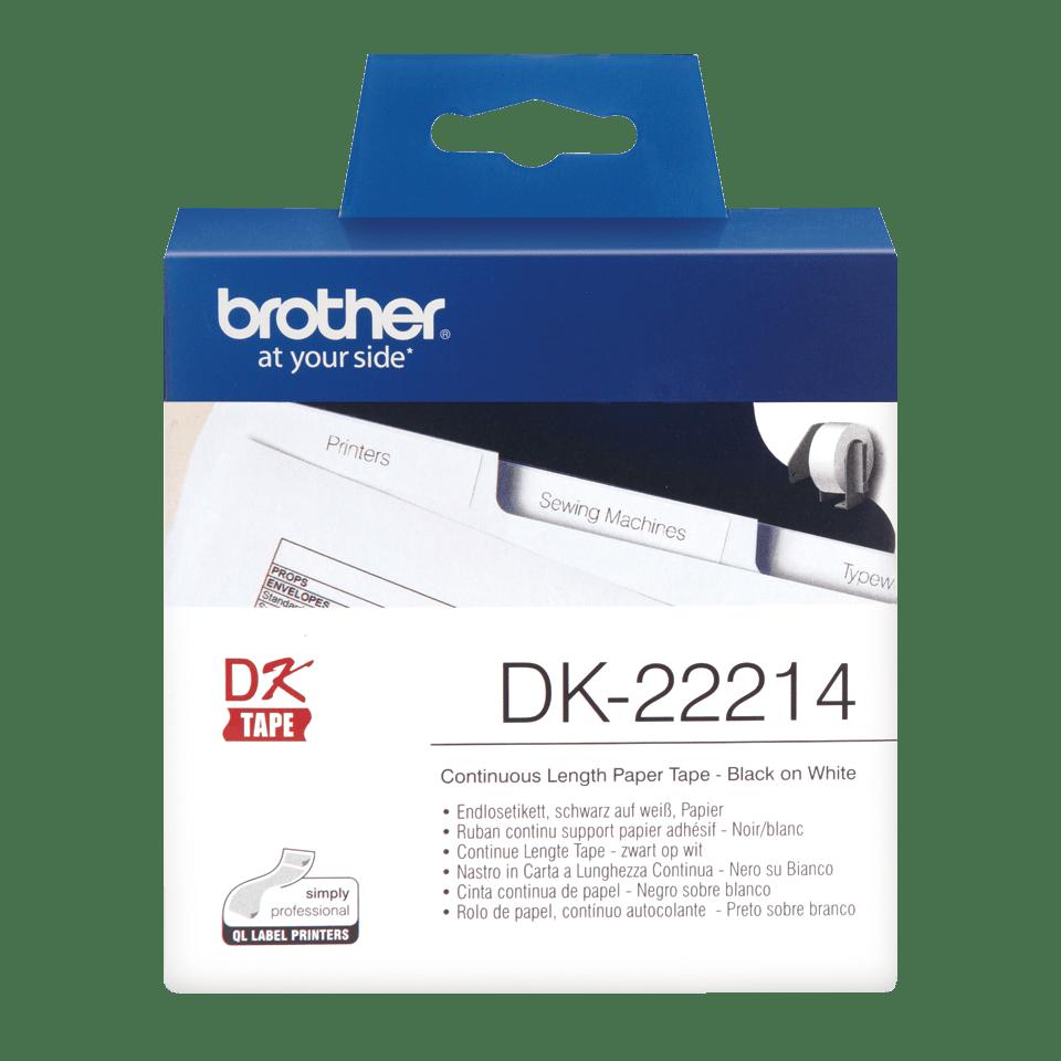 Original Brother DK22214  taperull i papir i løpende lengde – sort på hvit, 12 mm bred