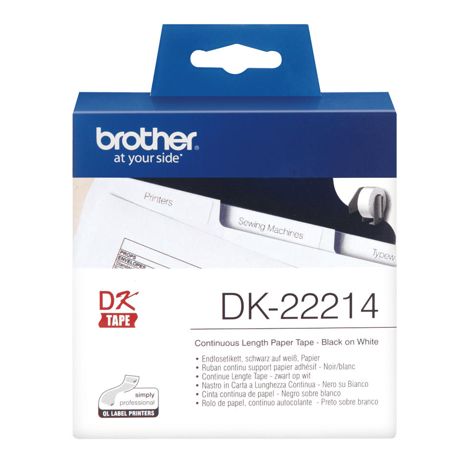 Original Brother DK22214  taperull i papir i løpende lengde – sort på hvit, 12 mm bred