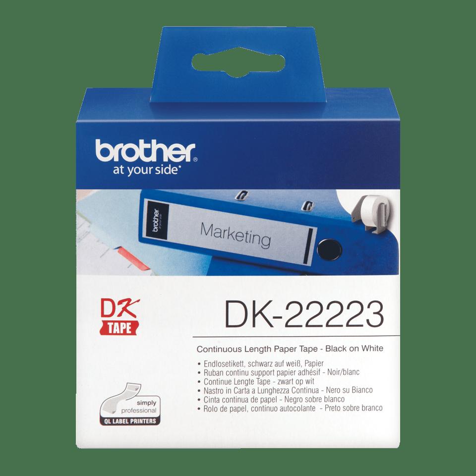 Original Brother DK22223 taperull i papir i løpende lengde – sort på hvit, 50 mm bred