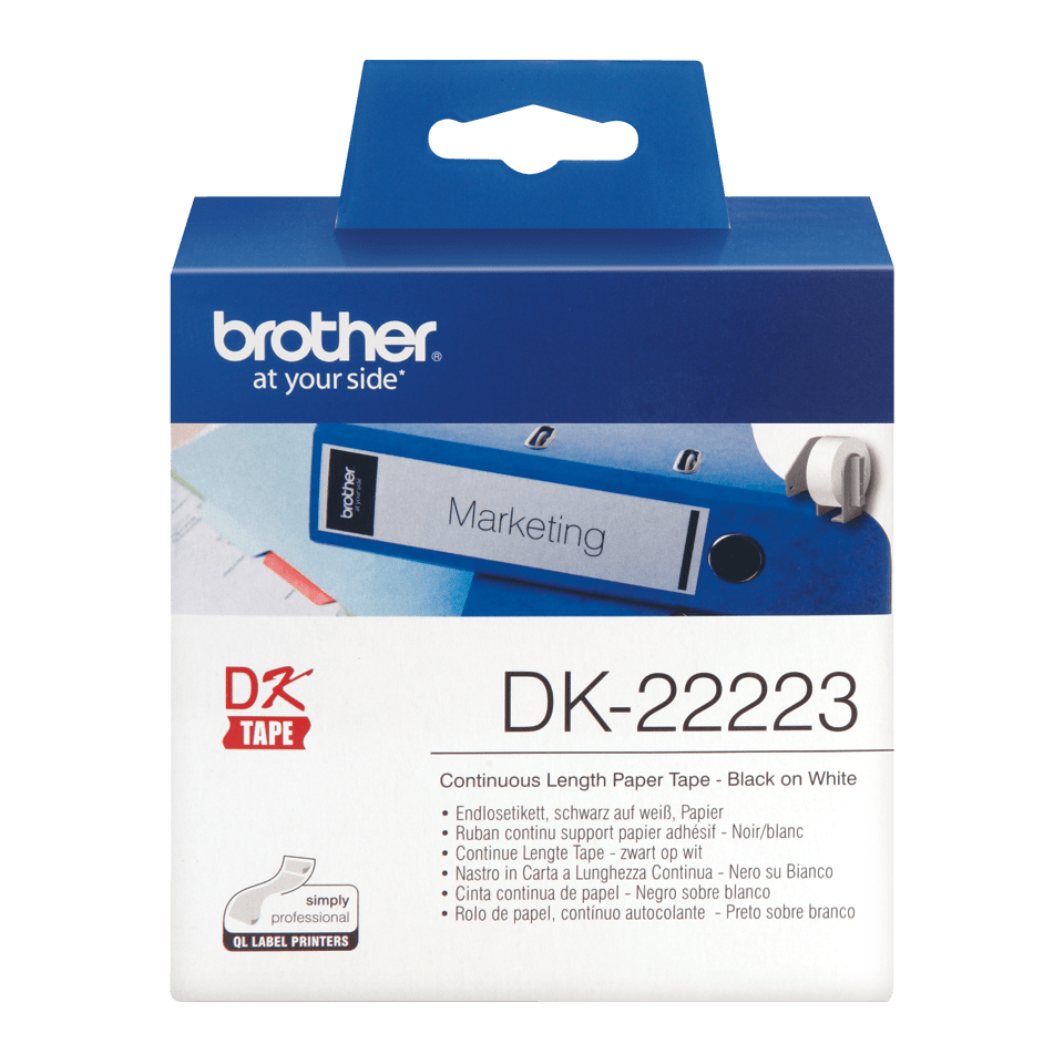 Original Brother DK22223 taperull i papir i løpende lengde – sort på hvit, 50 mm bred