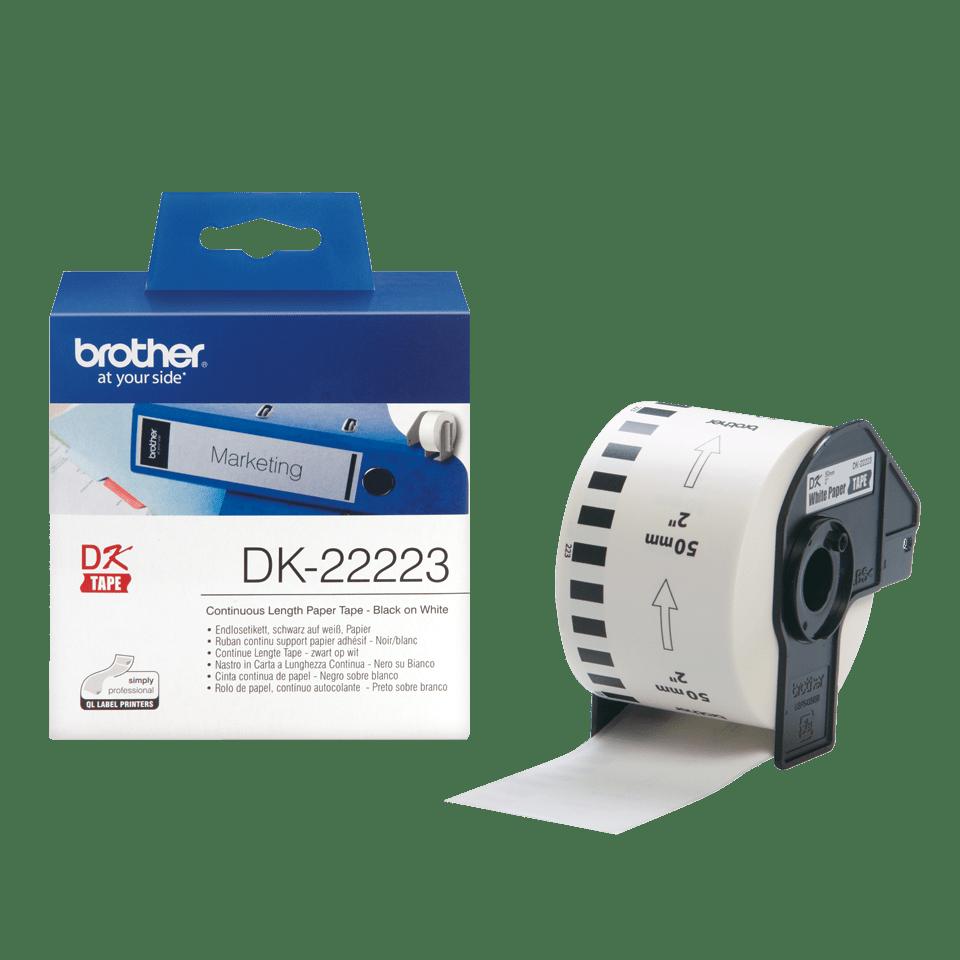 Original Brother DK22223 taperull i papir i løpende lengde – sort på hvit, 50 mm bred 3