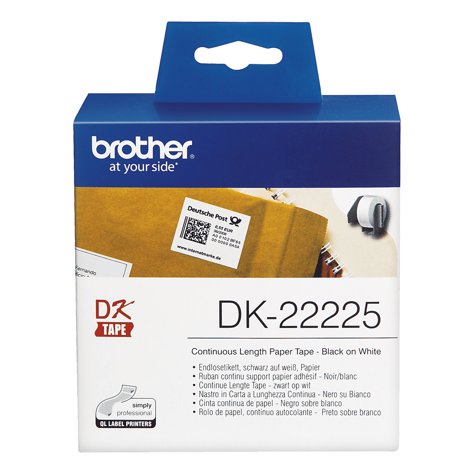 Original Brother DK22225 taperull i papir i løpende lengde – sort på hvit, 38 mm bred 2