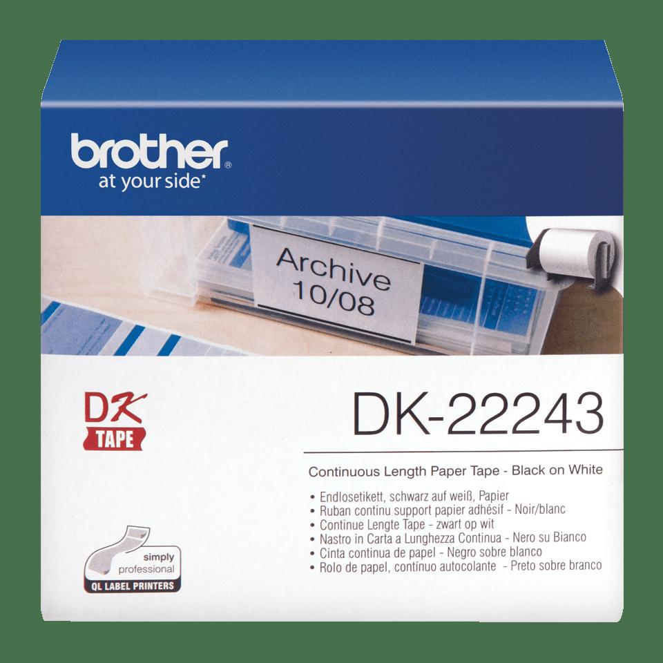 Original Brother DK22243 taperull i papir i løpende lengde – sort på hvit, 102 mm bred