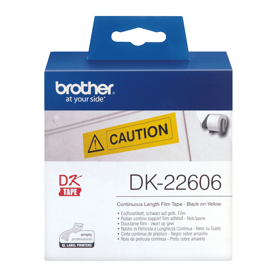 Brother original DK22606 taperull i plastfilm i løpende lengde - sort på gul, 62 mm bred 2