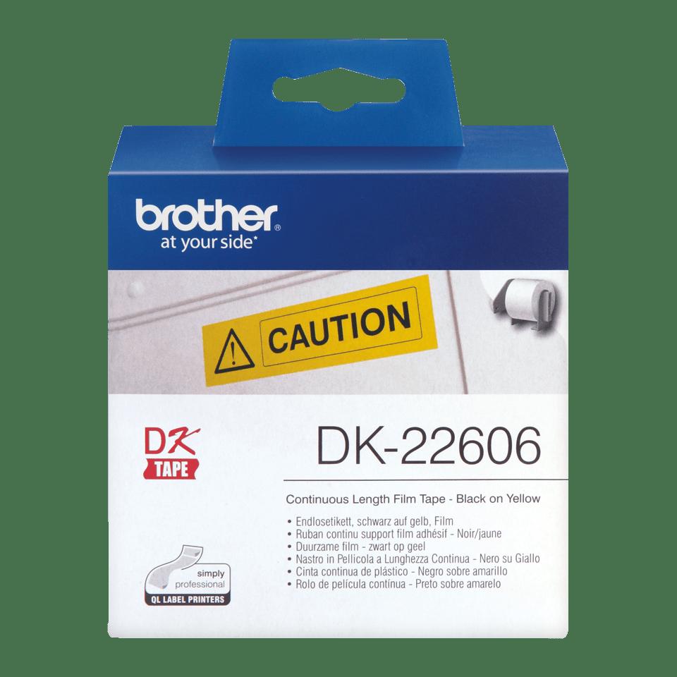 Brother original DK22606 taperull i plastfilm i løpende lengde - sort på gul, 62 mm bred 2