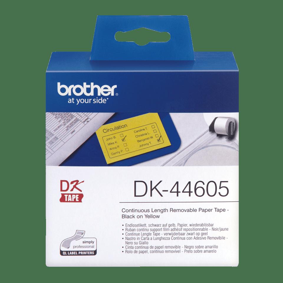Original Brother DK44605 avtagbar taperull i papir i løpende lengde - sort på gul, 62 mm bred