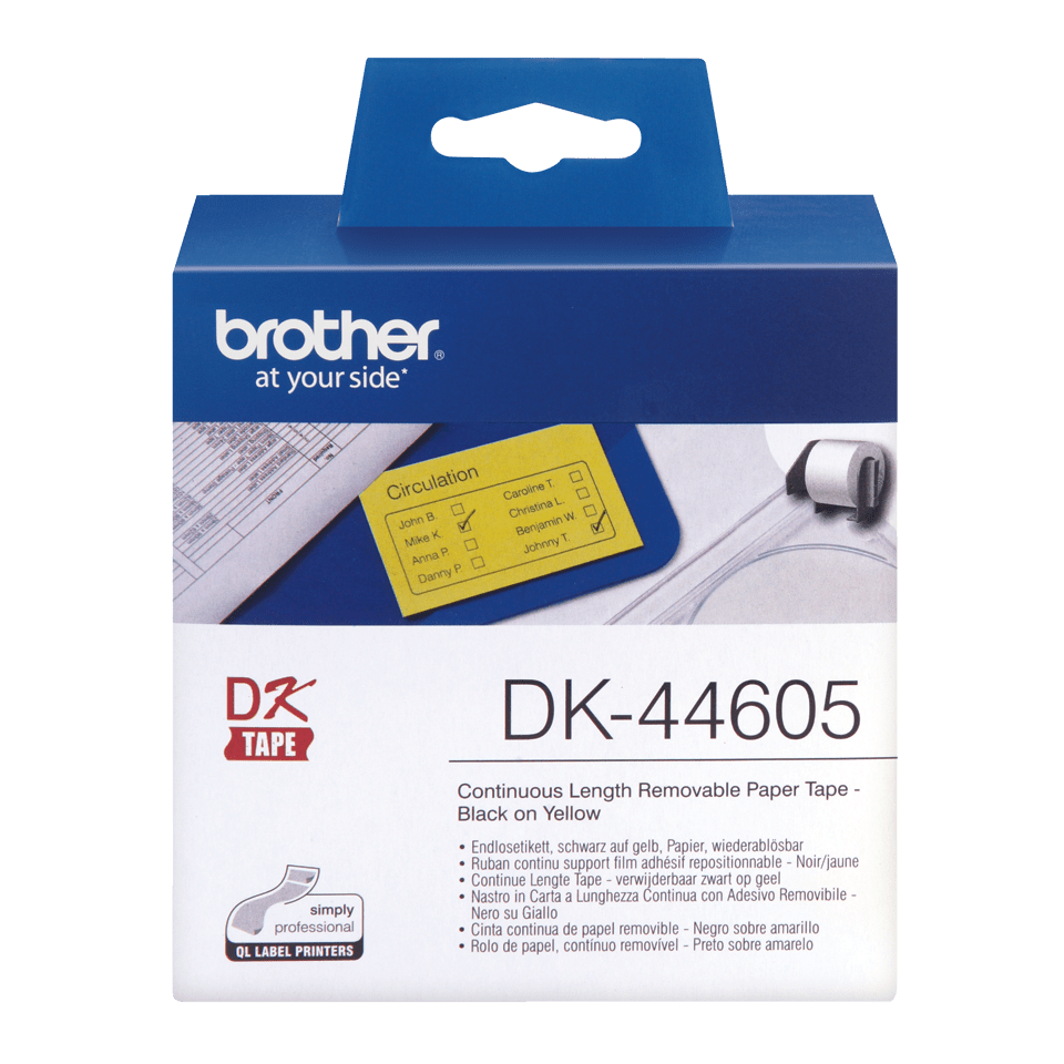 Original Brother DK44605 avtagbar taperull i papir i løpende lengde - sort på gul, 62 mm bred