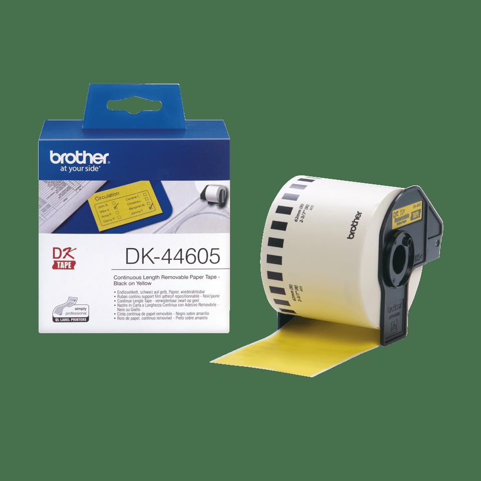 Original Brother DK44605 avtagbar taperull i papir i løpende lengde - sort på gul, 62 mm bred 3