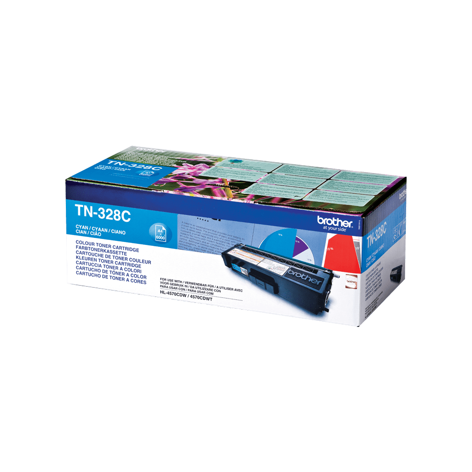 Original Brother TN328C super høykapasitet toner – cyan