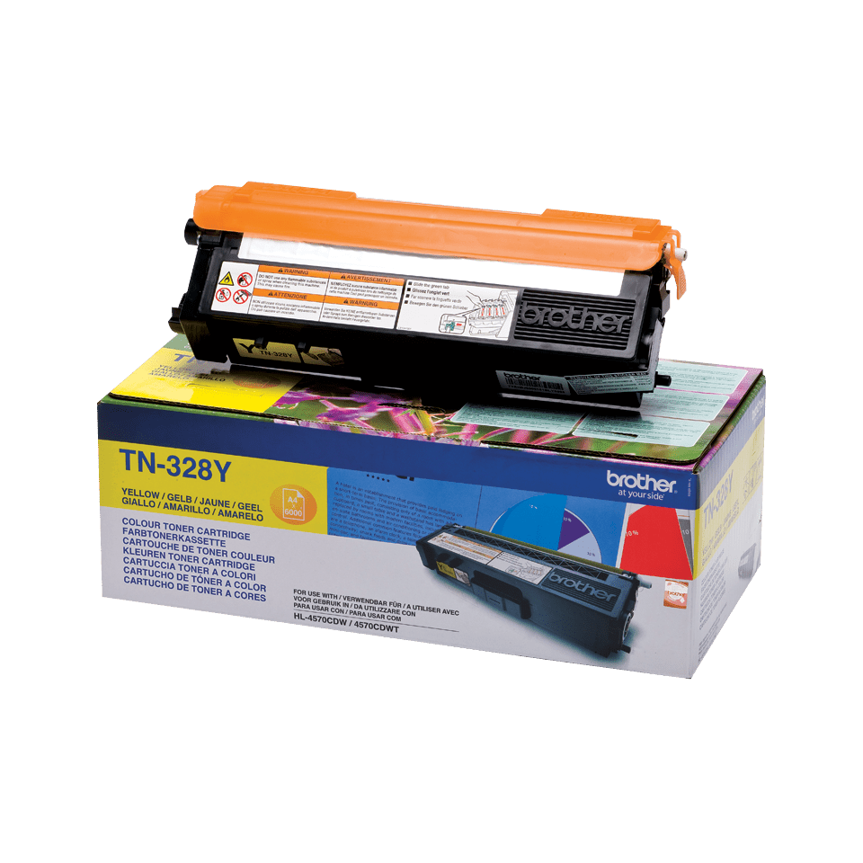 Original Brother TN328Y super høykapasitet toner – gul