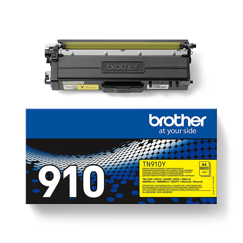 Original Brother TN910Y ultra høykapasitet toner – gul 2