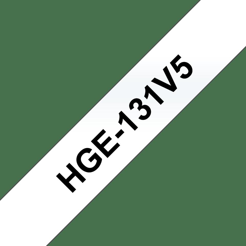 Original Brother HGe131V5 høykvalitets merketape  – sort på klar, 12 mm bred