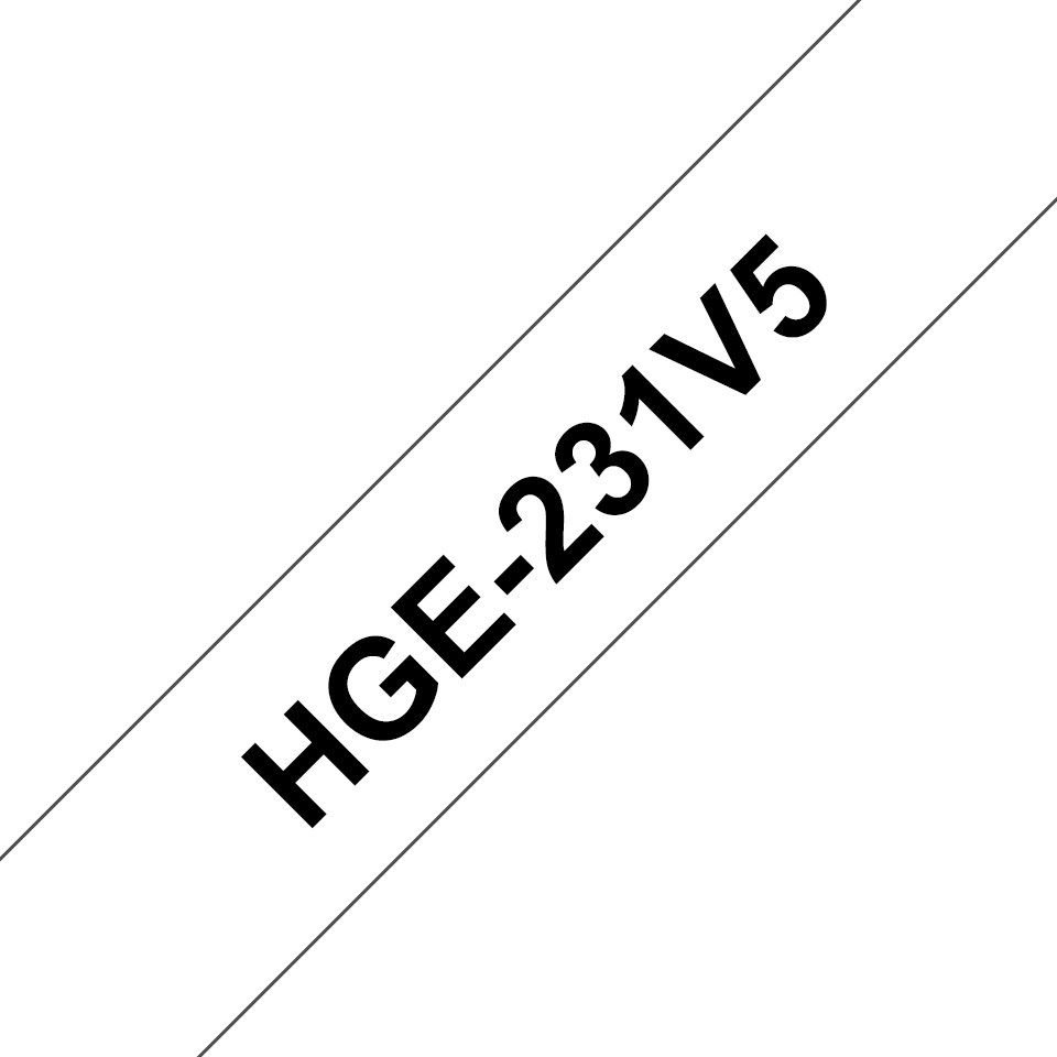 Original Brother HGe231V5 høykvalitets merketape – sort på hvit, 12 mm bred