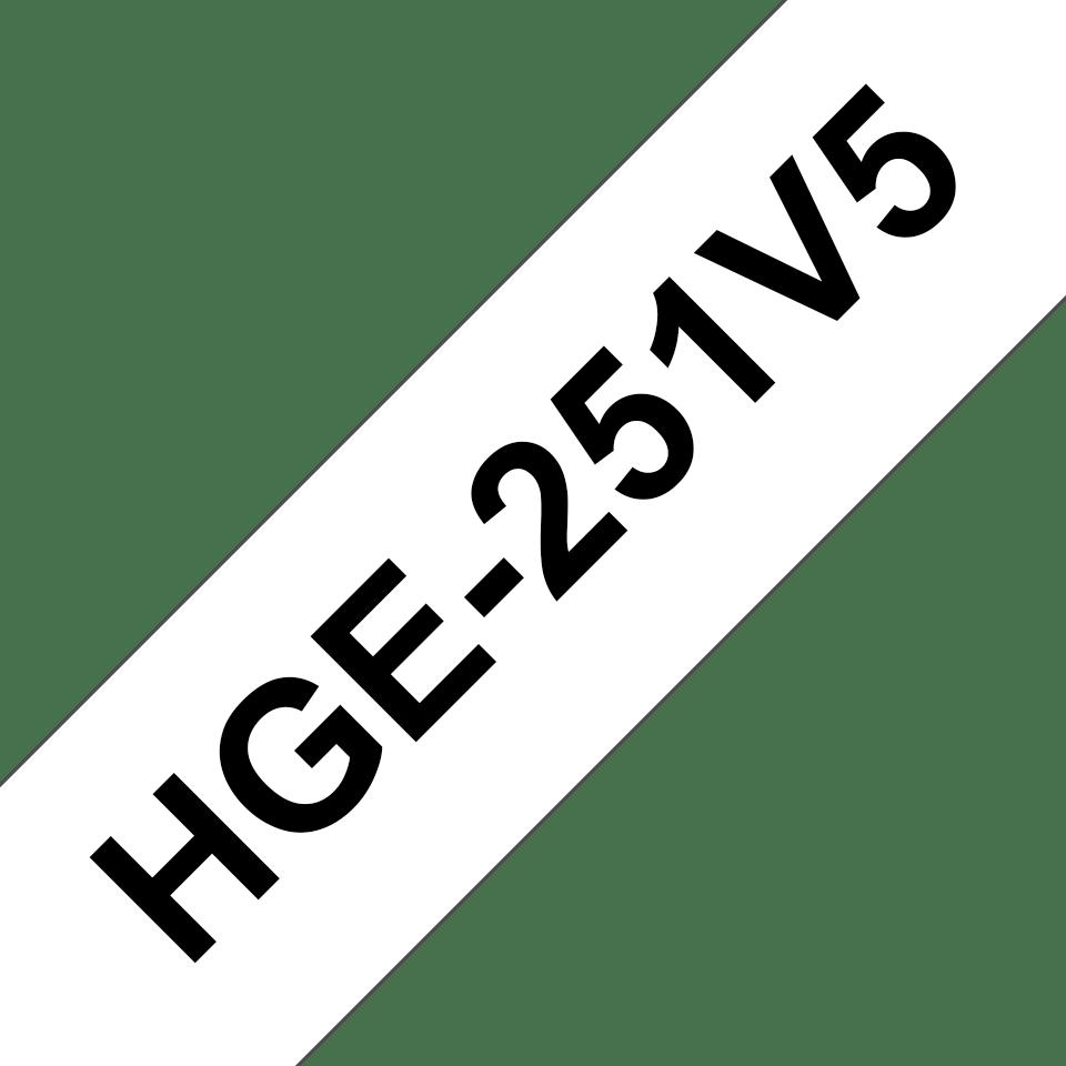 Original Brother HGe251V5 høykvaltets merketape – sort på hvit, 24 mm bred