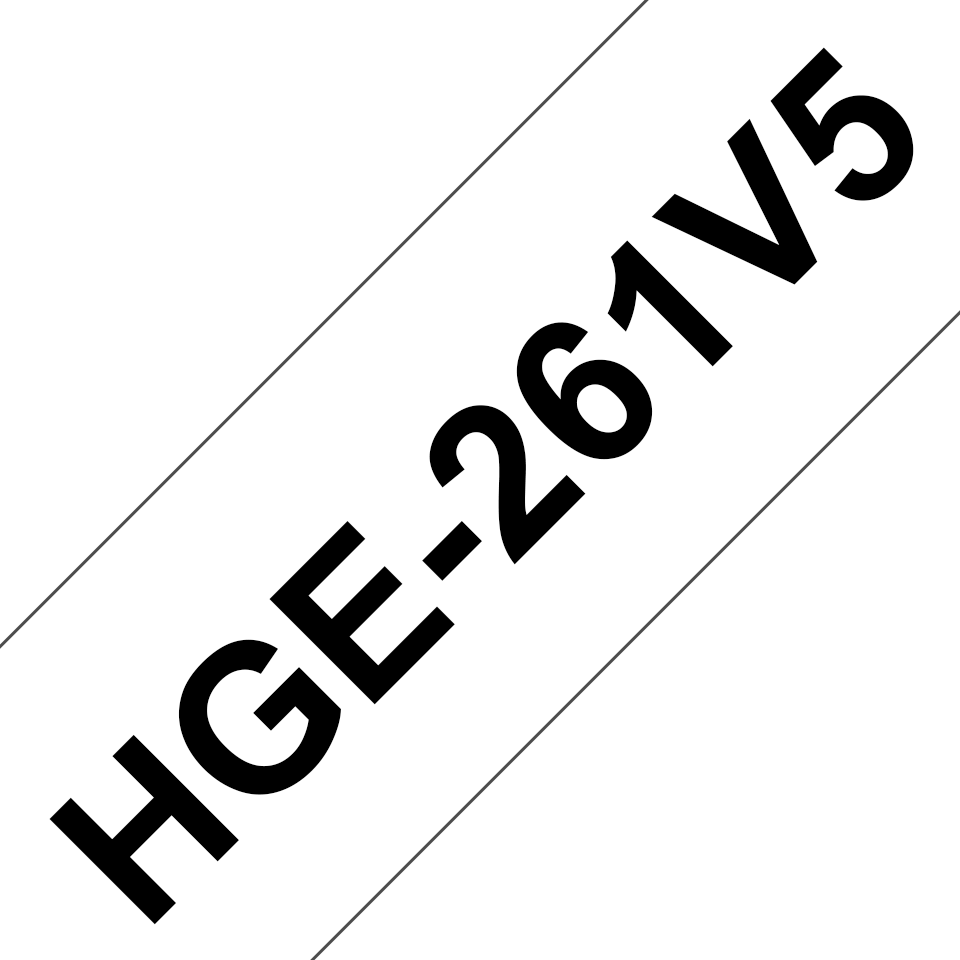 Brother originalHGE261V5 høykvalitets merketape - sort på hvit, 36 mm bred