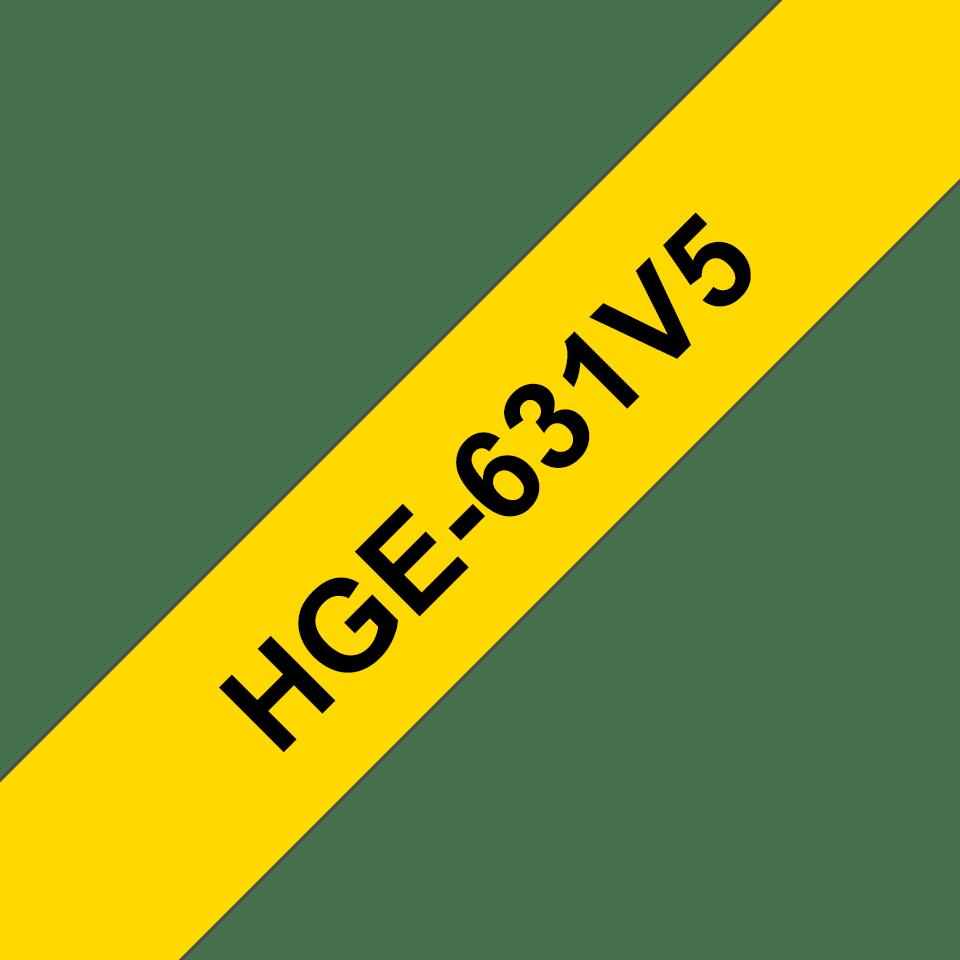 Original Brother HGe631V5 høykvalitets merketape – sort på gul, 12 mm bred