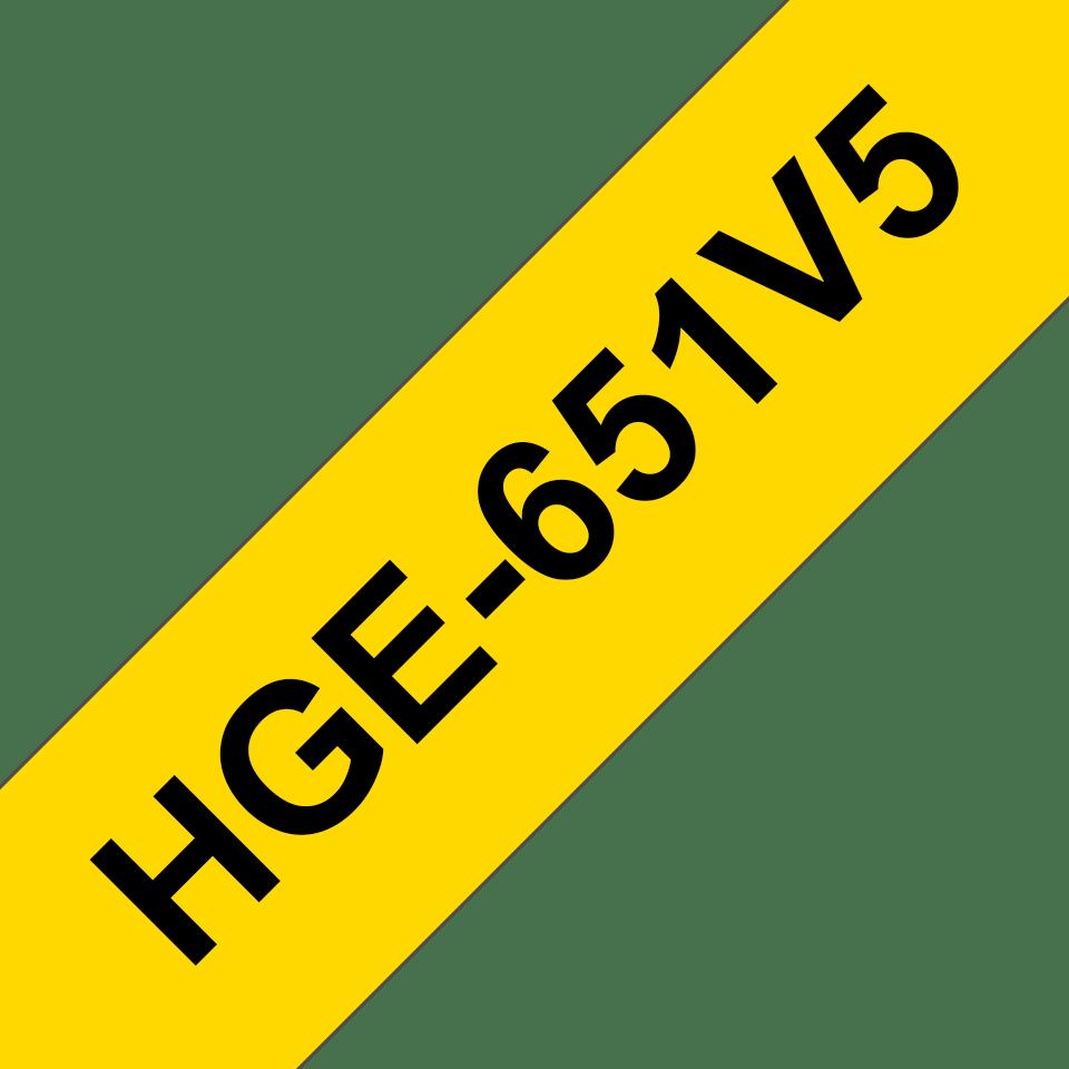 Original Brother HGe651V5 høykvalitets merketape – sort på gul, 24 mm bred