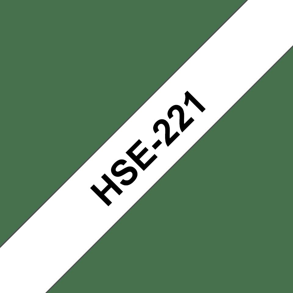 Original Brother HSE221 krympestrømpe - sort på hvit, 8,8 mm bred x 1,5 m
