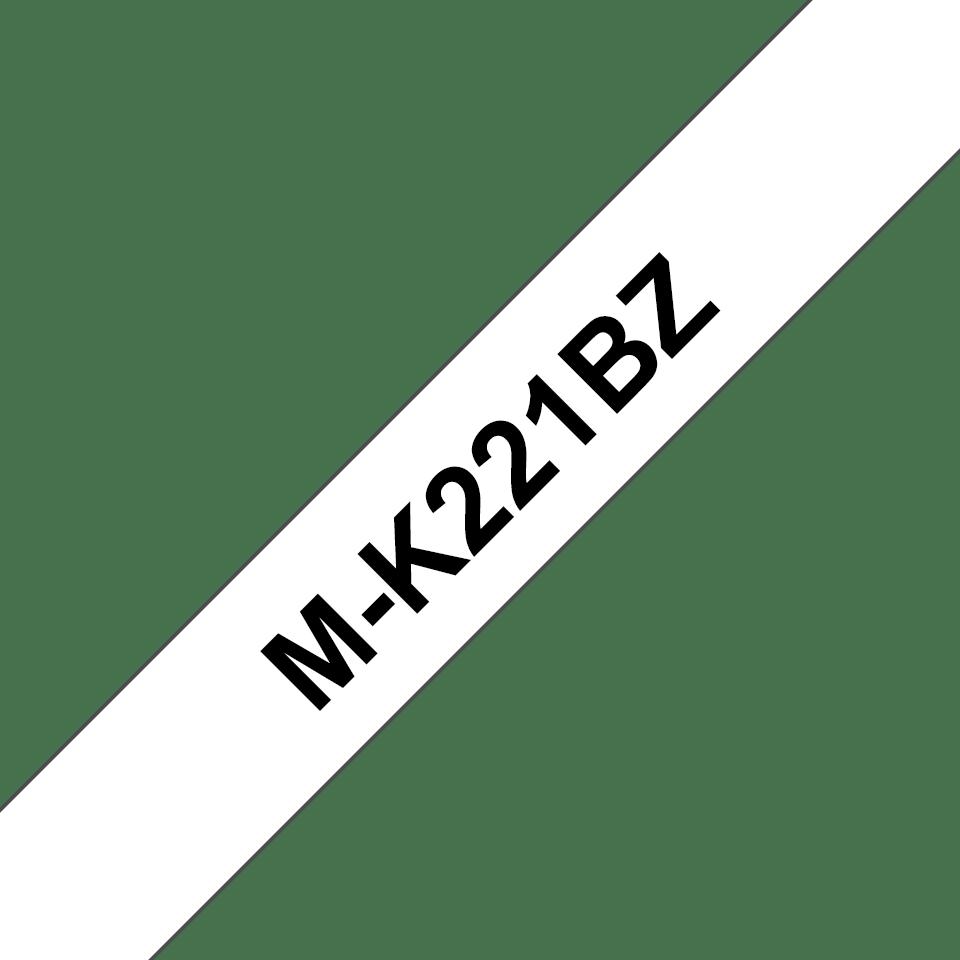 Brother original MK221BZ ulaminert merketape - sort på hvit, 9 mm bred
