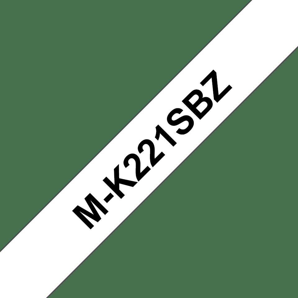 Original Brother MK221SBZ merketape – sort på hvit, 9 mm bred